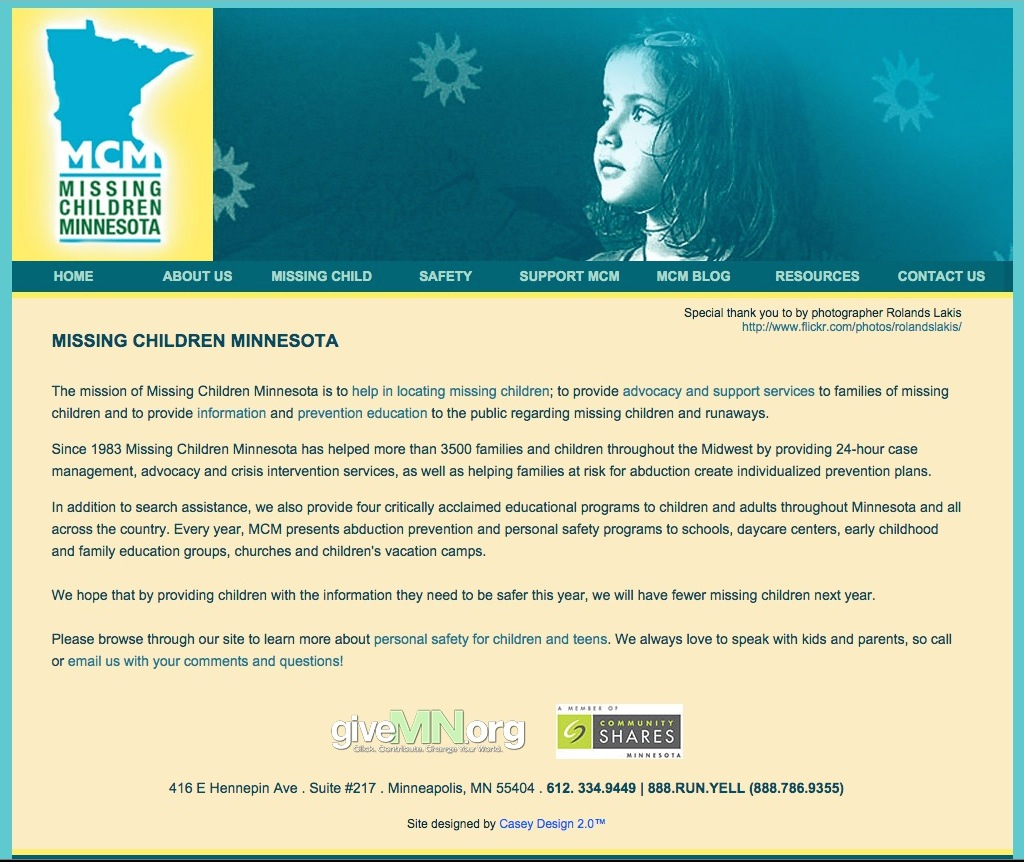 Website Design: Missing Children Minnesota