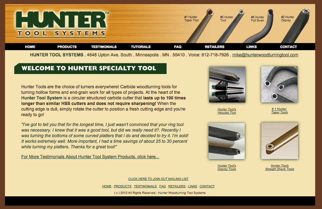 Website Design: Hunter Tool Systems