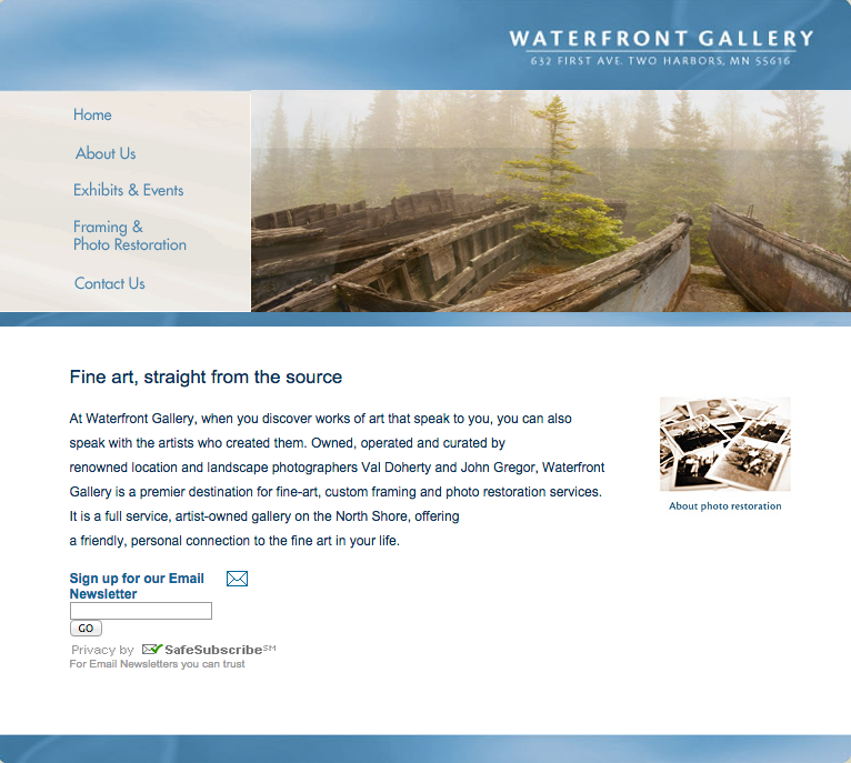 Website Design: Waterfront Gallery