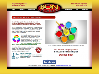 Bon Auto Body Website before it's rebirth