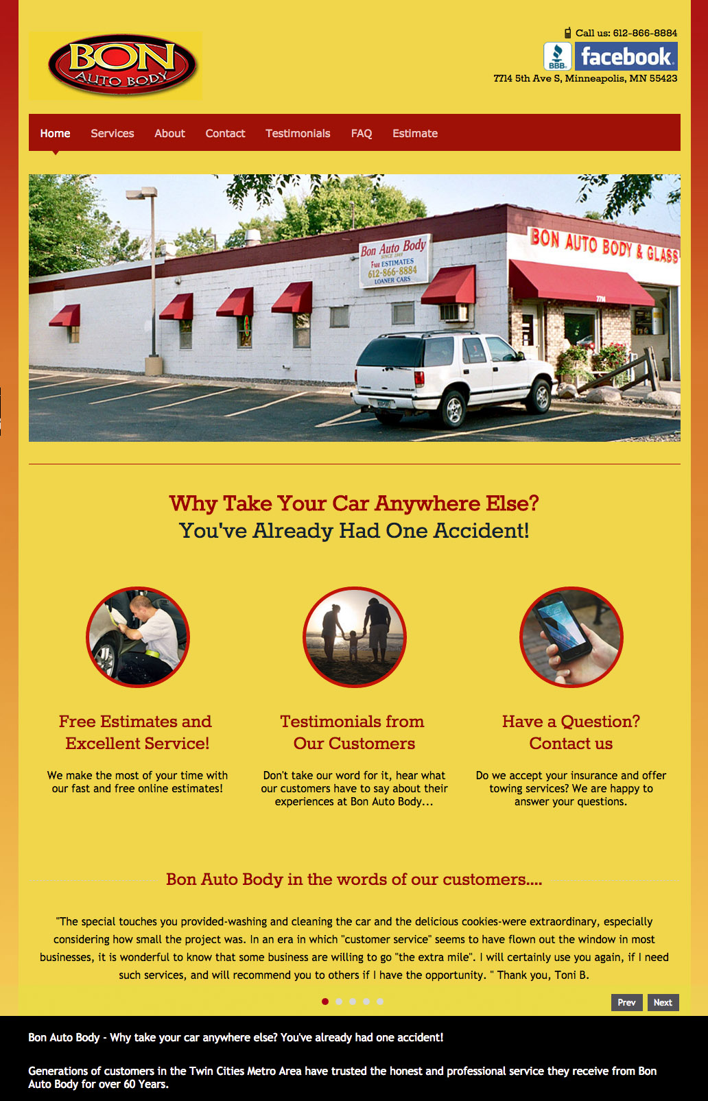 Website Design: Bon Auto Body