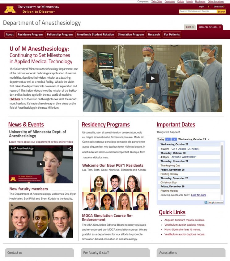 University of Minnesota Anesthesiology