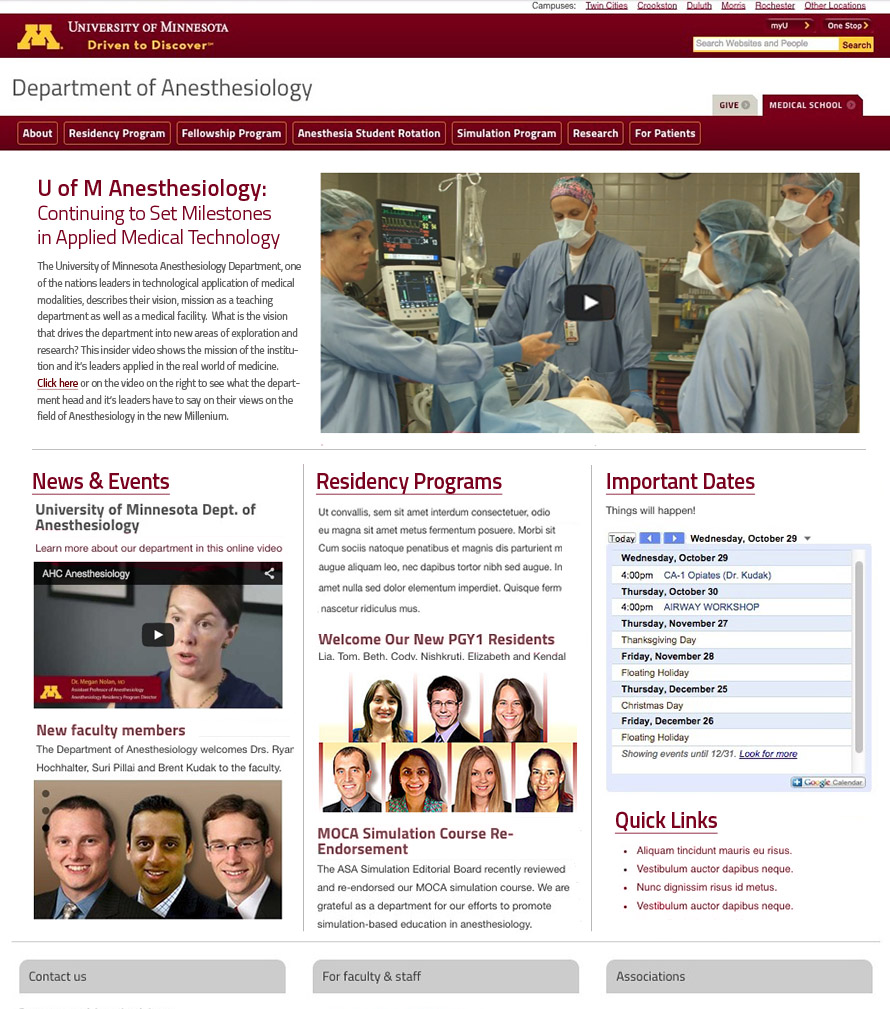 Website Design: University of Minnesoa Anesthesiology