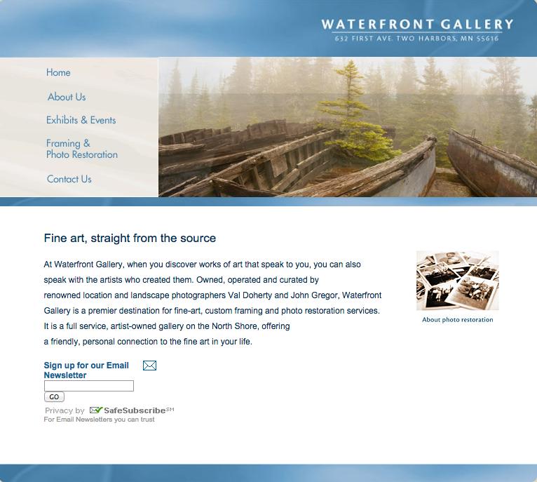 Website Design: Waterfront Gallery