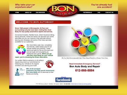 Bon Auto Body Website before it's rebirth