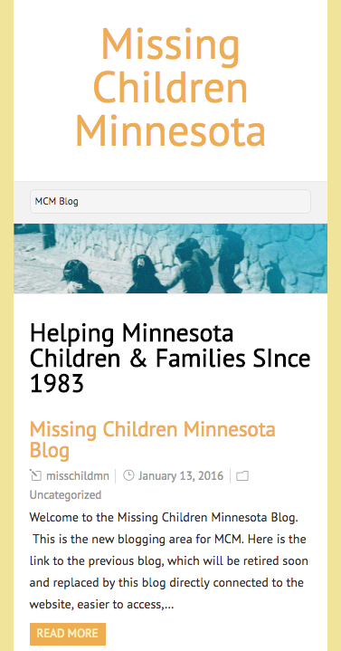 Website Design: Missing Children Minnesota